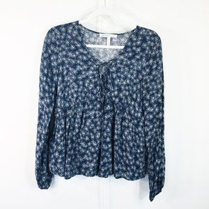 BCBGeneration S Babydoll Top Blue White Floral